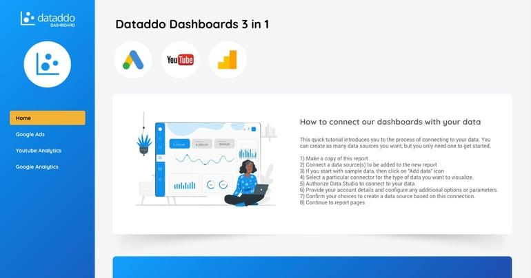 Dataddo Google Data Studio Dashboard - 3in1