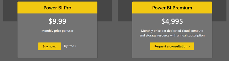 Power BI has two payment levels - Pro and Premium.