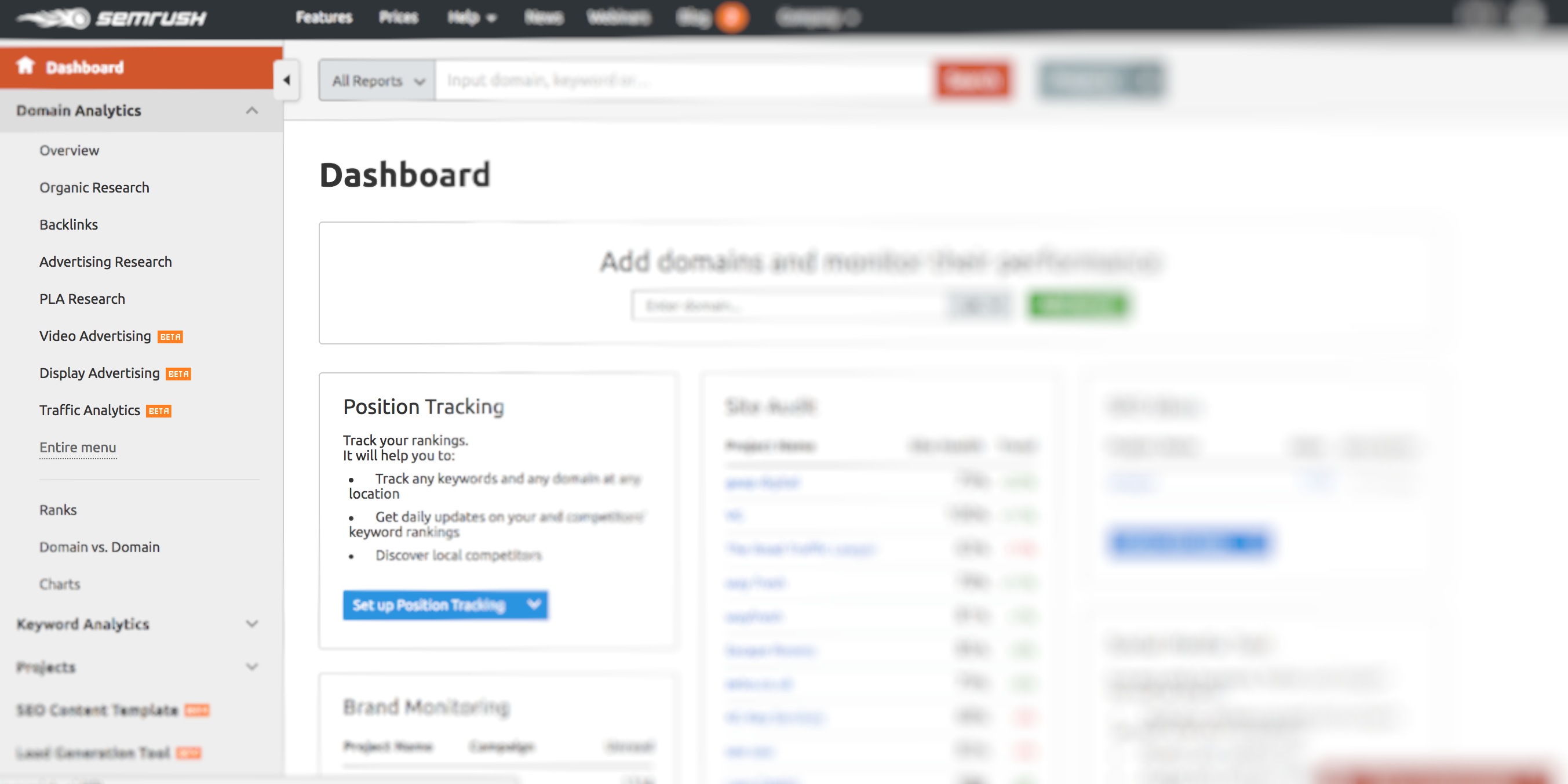 SEMrush dashboard example